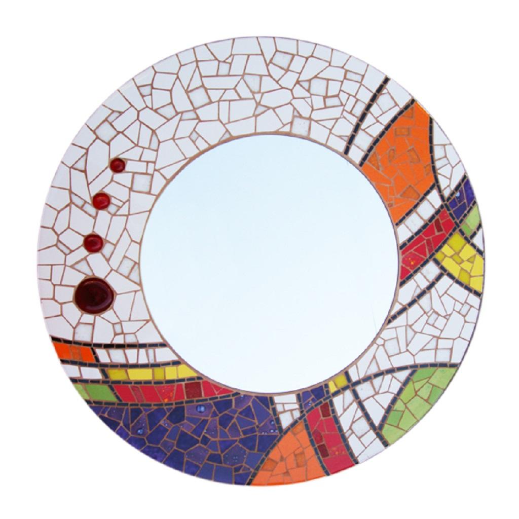 espejo mosaico redondo colores