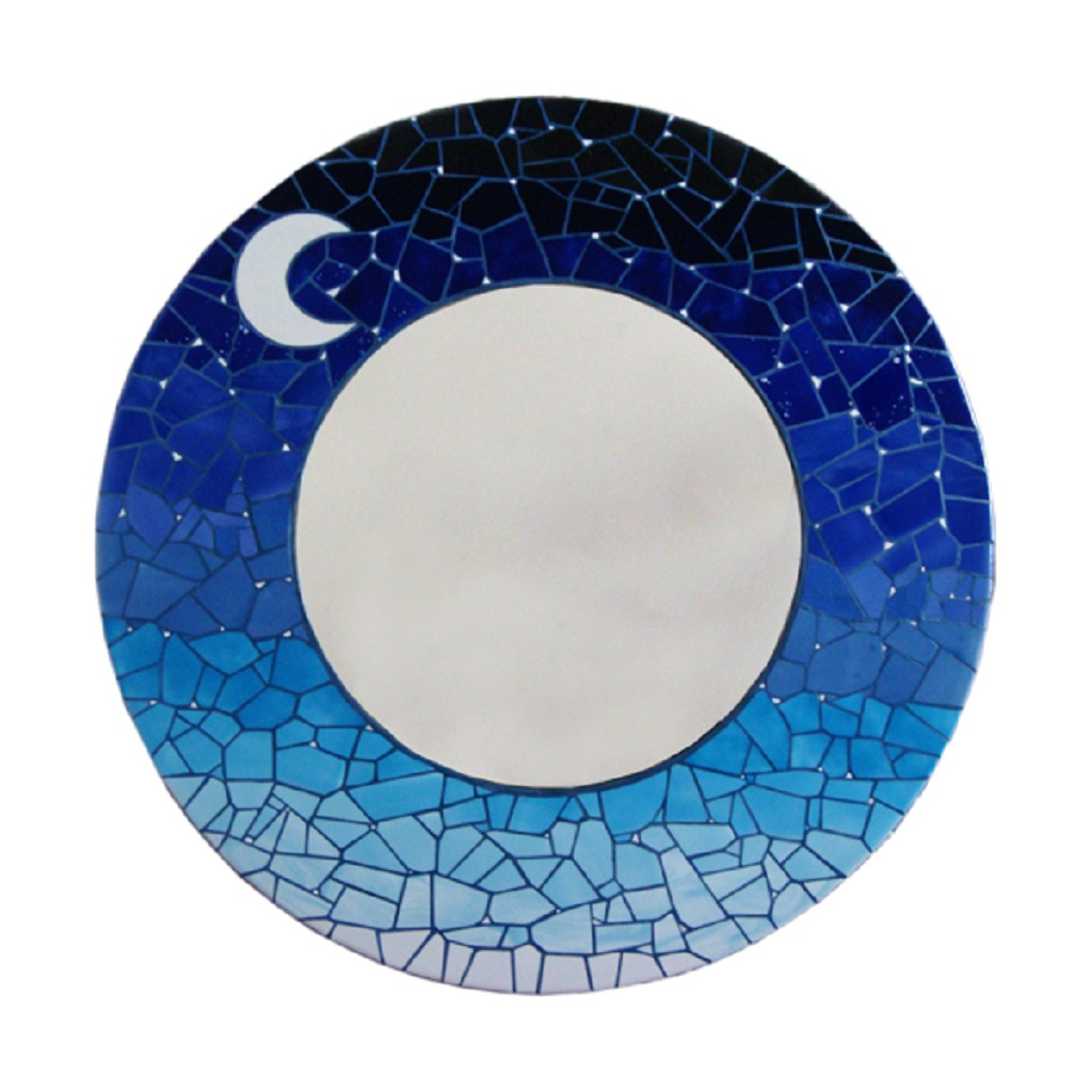 espejo mosaico redondo atardecer tonos azules