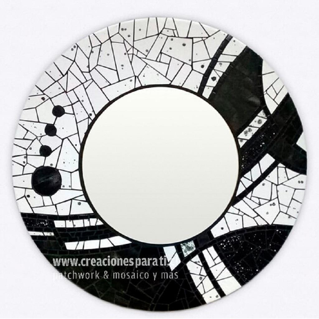 espejo mosaico redondo blanco y negro