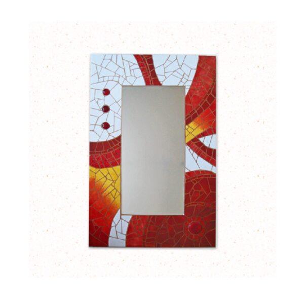 espejo mosaico tonos rojos