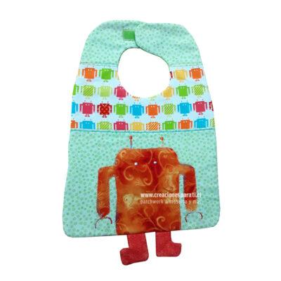 babero robot tela algodón