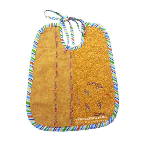 babero tela algodón reversible color amarillo