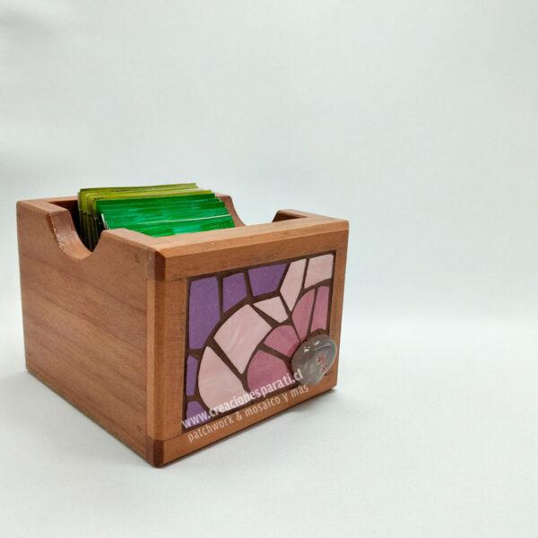 caja té mosaico violeta corazón