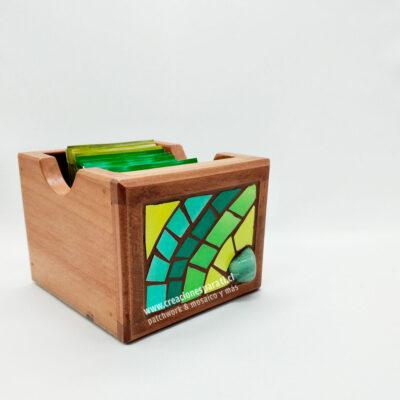 caja té mosaico verde