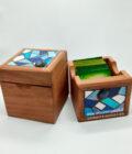 conjunto caja té mosaico azul
