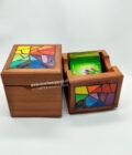 conjunto caja té mosaico colores